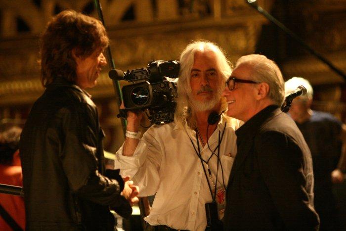 Mick Jagger mit Kamerachef Robert Richardson und Martin Scorsese