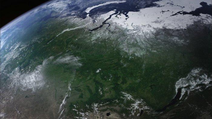 Gebirgsregionen aus 180 km Höhe