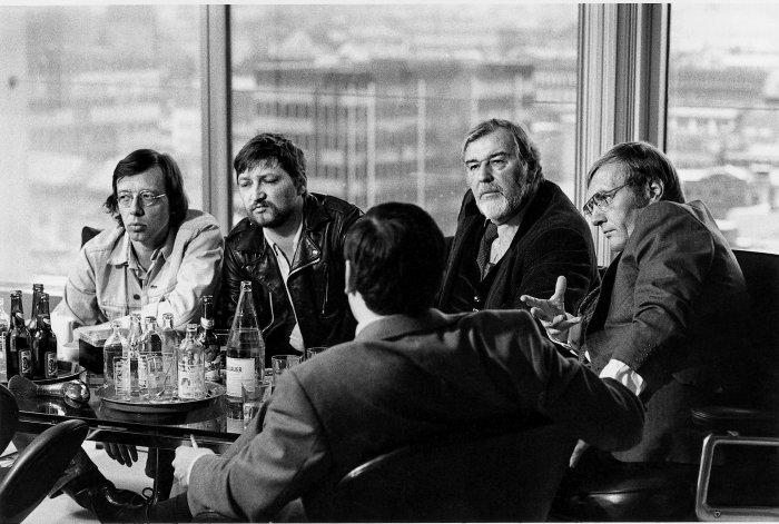 Hark Bohm, Rainer W. Fassbinder, Bernhard Wicki, Rudolf Augstein und Matthias Ginsberg