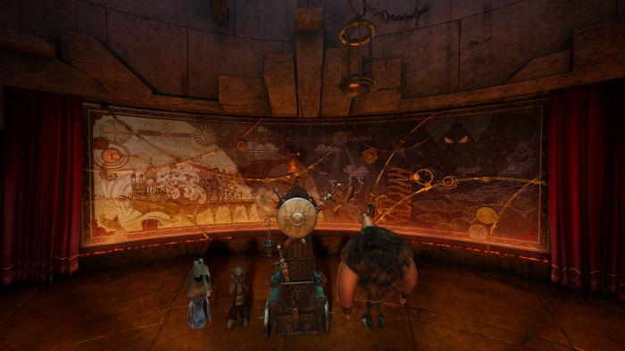 Lord Arnold zeigt den Freunden Gwizdo und Lian-Chu die Weltkarte