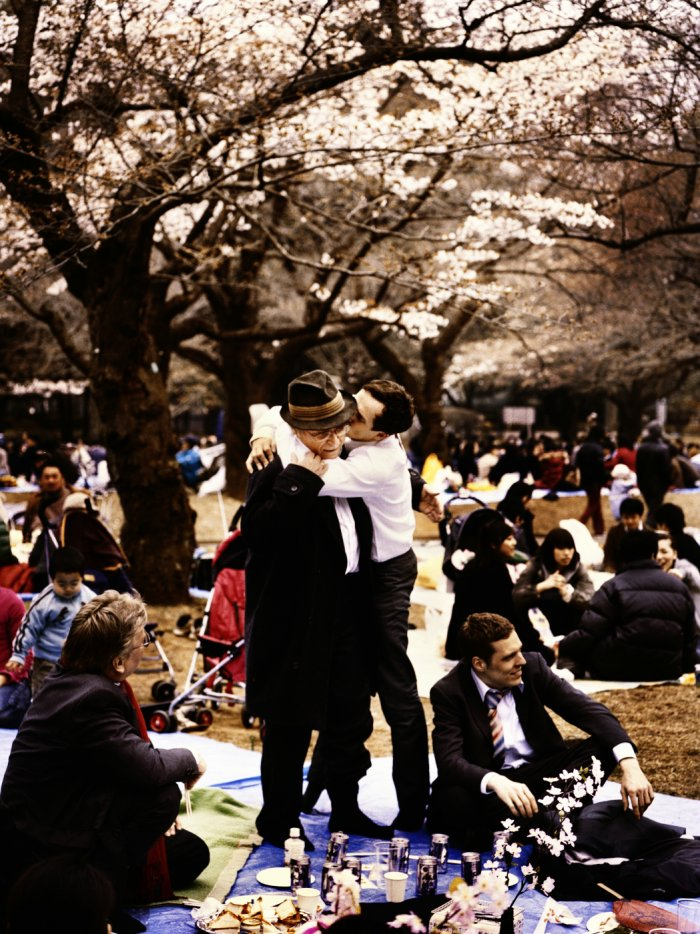 Vater und Sohn unter Kirschblüten