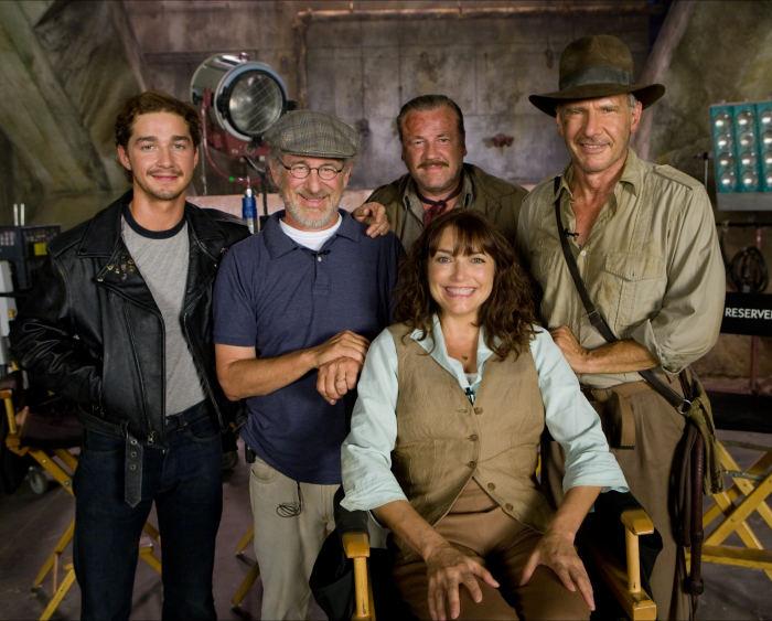 Steven Spielberg und die Stars von Indiana Jones 4