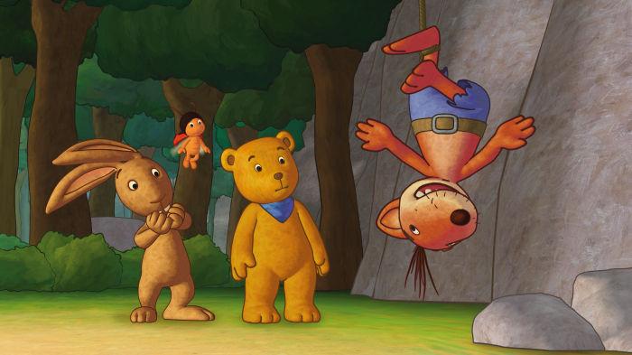 Der Mondbär, Hase und Marienkäfer sind erstaunt