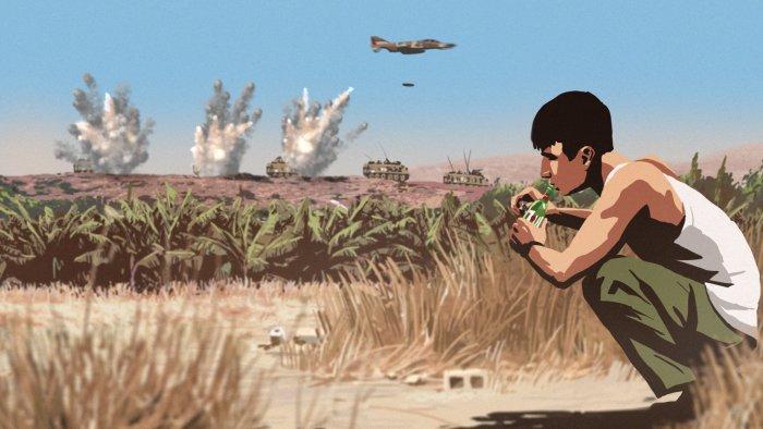 Ein israelischer Jet bombadiert den Gegner